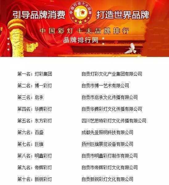 米乐m6平台集团荣登中国彩灯十大品牌